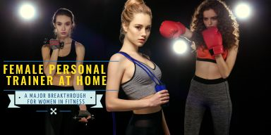 Female fitness trainer at home